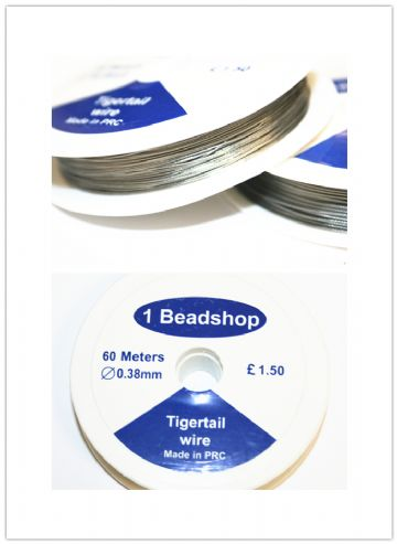 Tigertail 0.38mm plastic coated wire for jewellery making. WE102